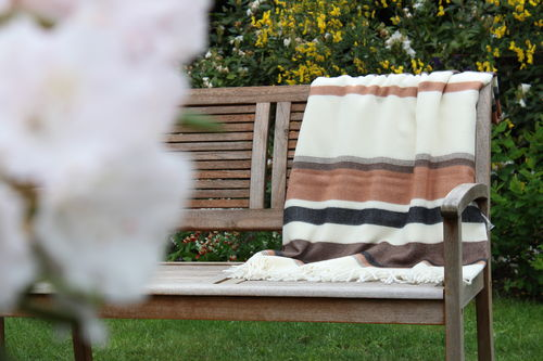 "Blanket ""Toscana"" striped ocher brown black"