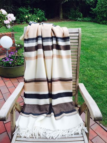 "Blanket ""Toscana"" striped beige brown black"