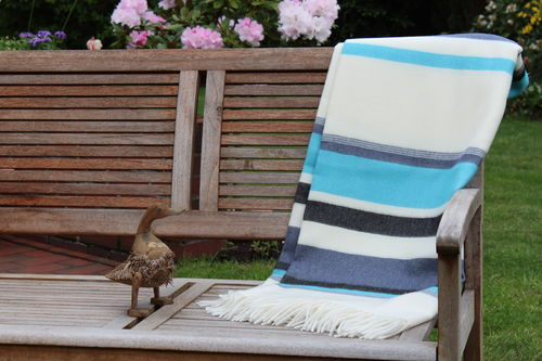 "Blanket ""Toscana"" striped turquoise blue black"